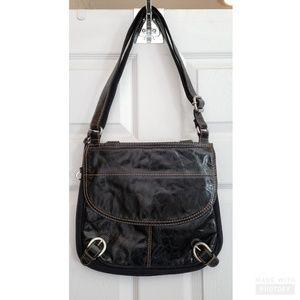 Fossil black leather and canvas handbag